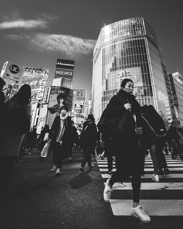 Pedestrians in Shibuya Tokyo black and white