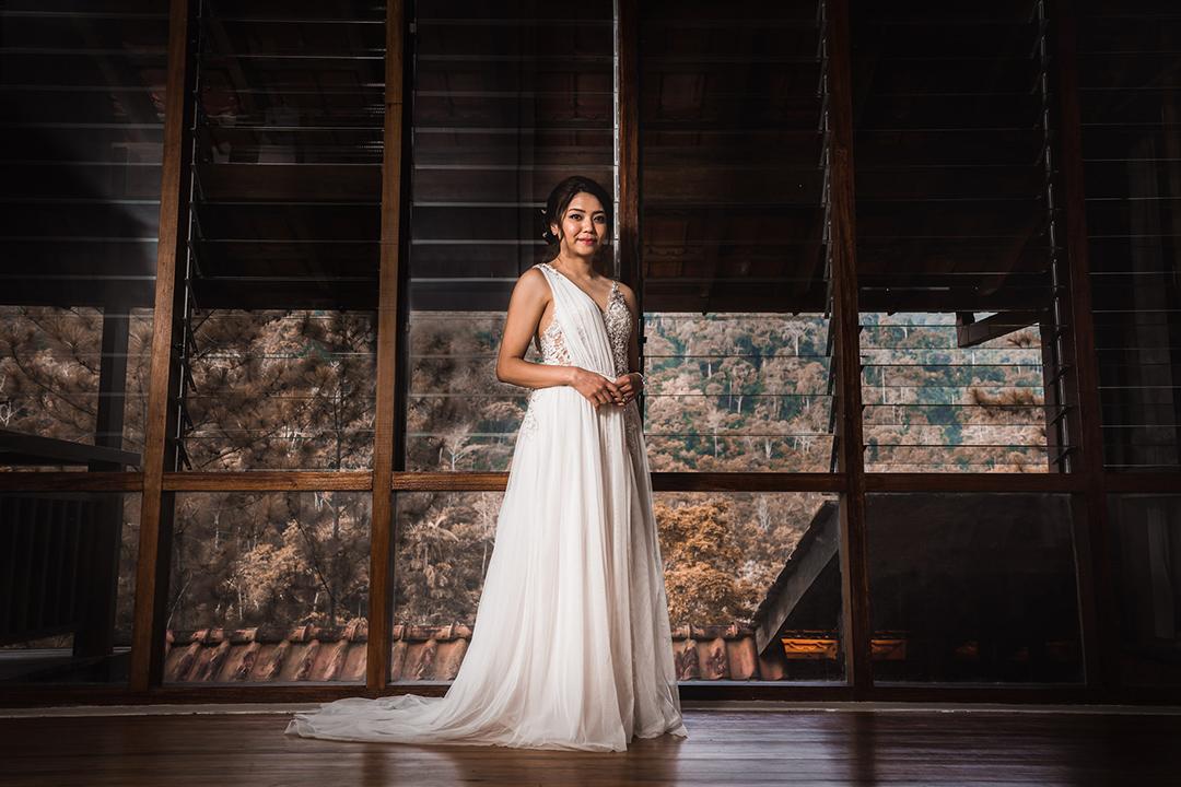 Bride in white gown wedding tanarimba