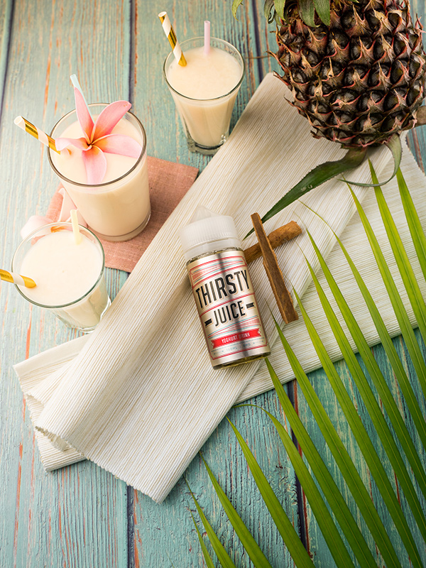 Flat lay tropical summer drinks pineapple photography